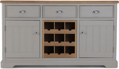 Sorrento Grey Painted Large Sideboard with Wine Rack