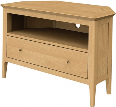 Wadsworth Oak Corner TV Unit with Drawer