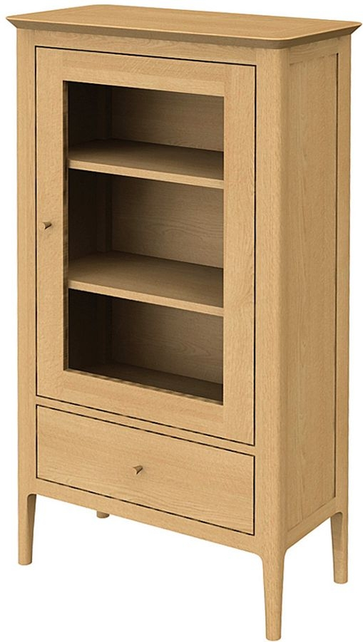 Wadsworth Solid Oak 1 Door 1 Drawer Petite Glazed Bookcase