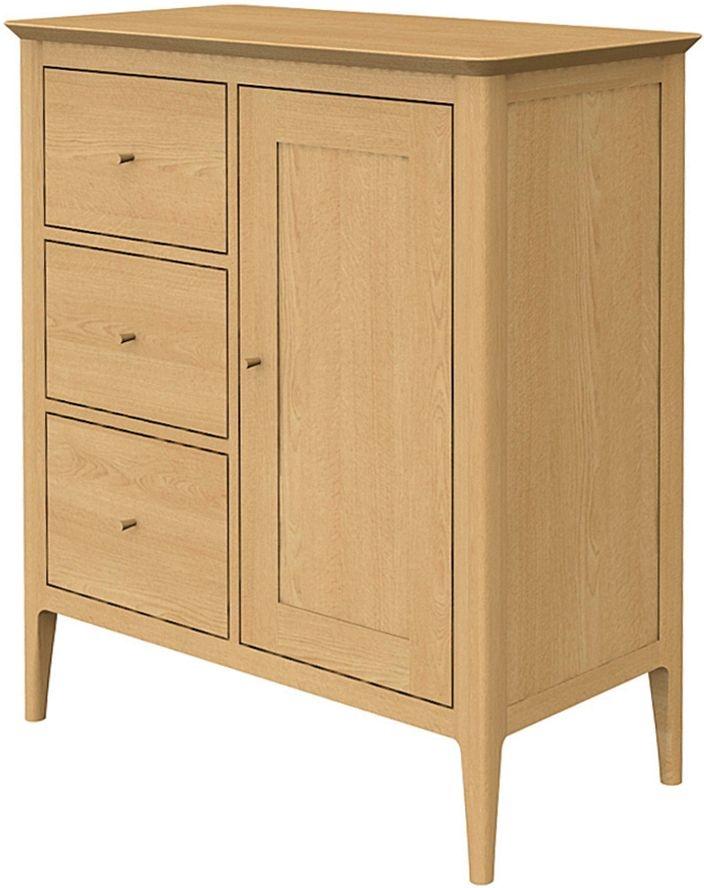 Wadsworth Solid Oak 1 Door 3 Drawer Petite Hallway Cupboard