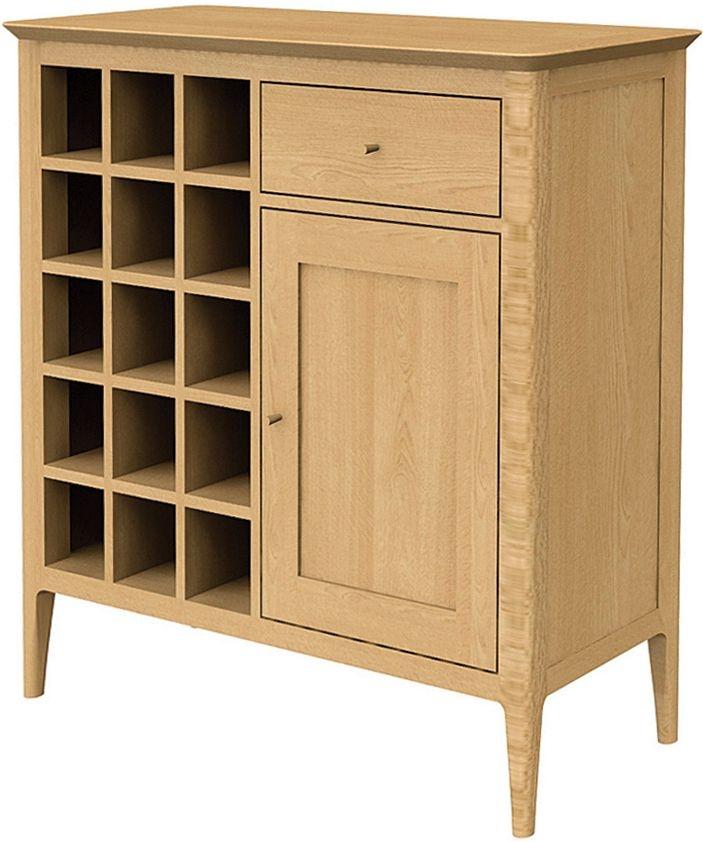 Wadsworth Solid Oak 1 Door 1 Drawer Petite Wine Rack Sideboard