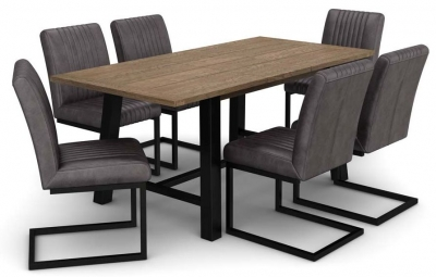Wilber Oak Industrial Extending Dining Table and 6 Grey Chairs