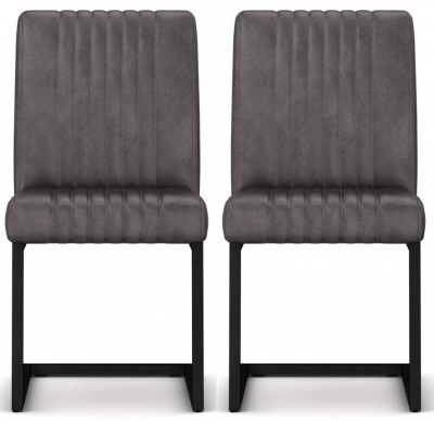 Wilber Oak Industrial Grey Faux Leather Dining Chair (Pair)