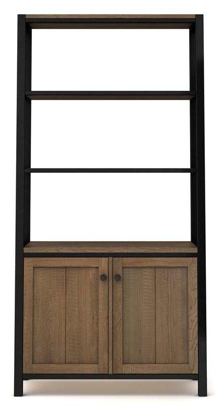 Wilber Oak Industrial Tall Bookcase