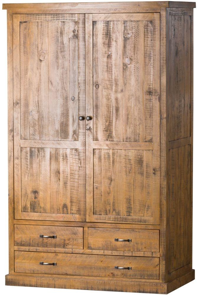 Hill Interiors Deanery Solid Rustic Pine 2 Door Wardrobe
