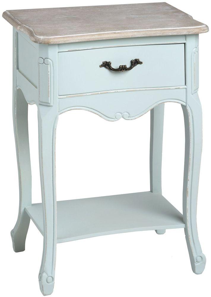 Hill Interiors Duck Egg Blue Bedside Table - 1 Drawer 1 Shelf