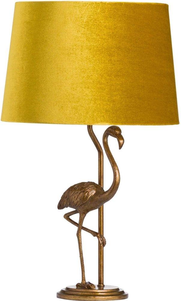 Hill Interiors Antique Gold Flamingo Lamp with Mustard Velvet Shade