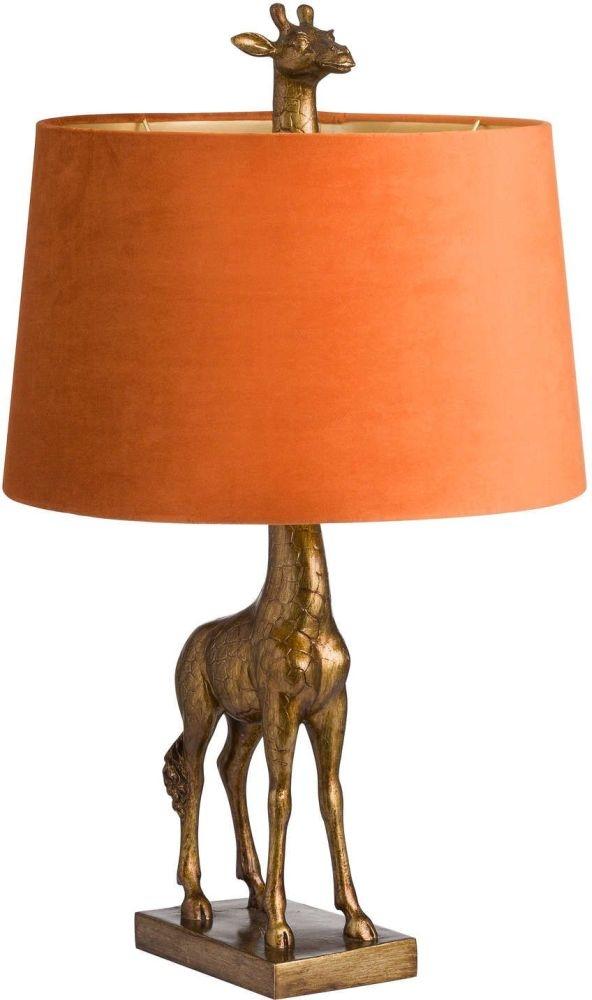 Hill Interiors Antique Gold Giraffe Lamp with Burnt Orange Velvet Shade