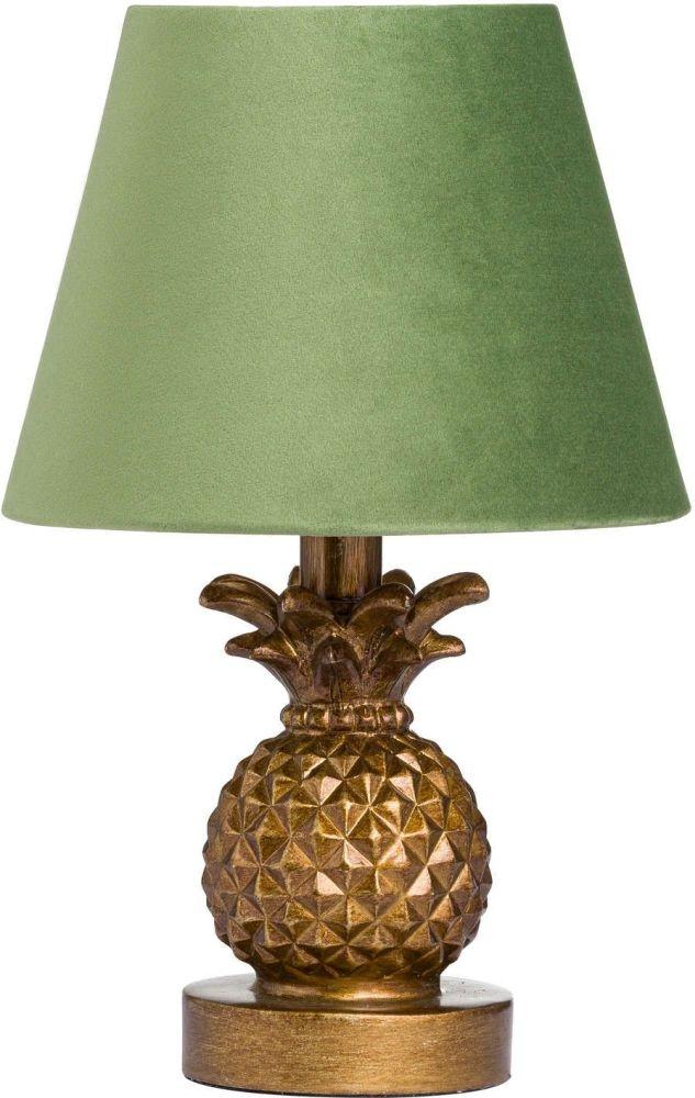 Hill Interiors Antique Gold Pineapple Lamp with Artichoke Green Velvet Shade