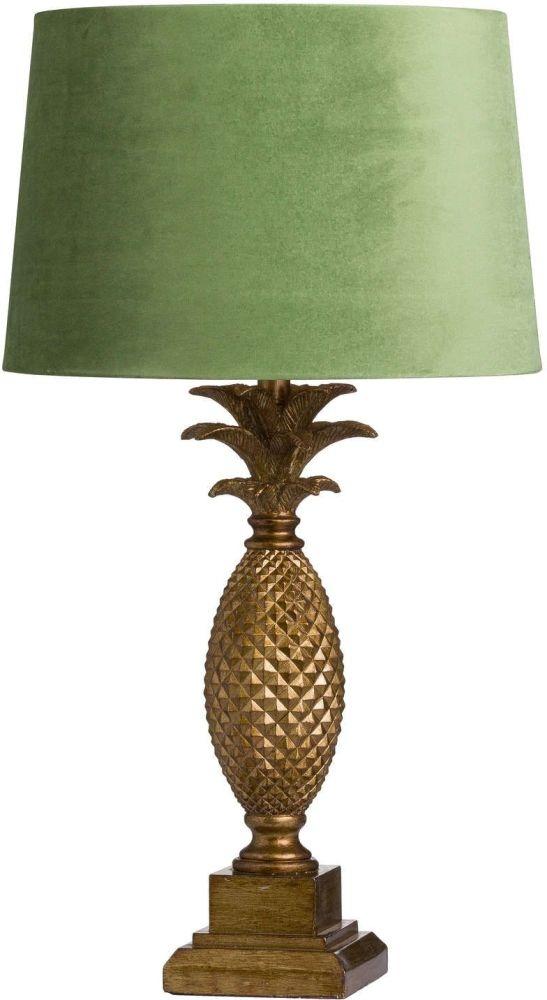 Hill Interiors Tall Gold Pineapple Lamp with Artichoke Velvet Shade