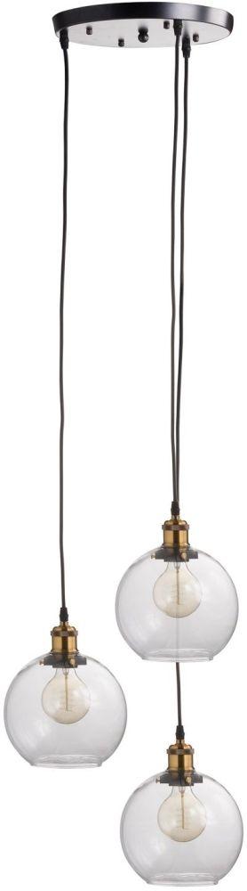 Hill Interiors Triple Hanging Glass Globe Light