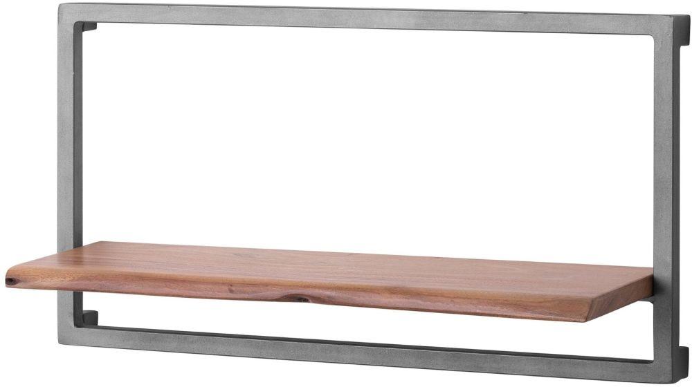 Hill Interiors Live Edge Large Wall Shelf - Acacia Wood and Metal