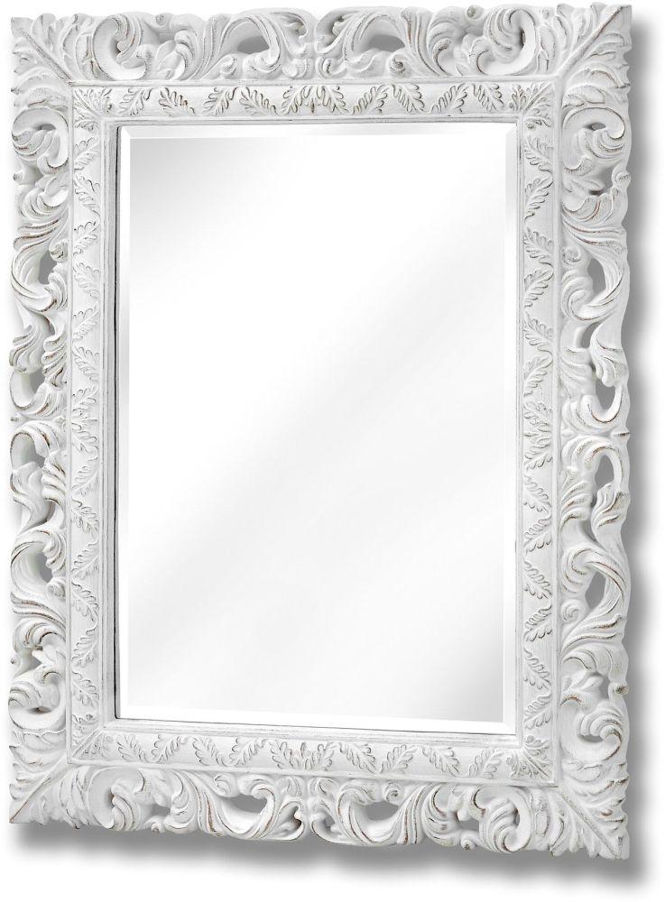 Hill Interiors Ornate Antique White Leaf Wall Mirror