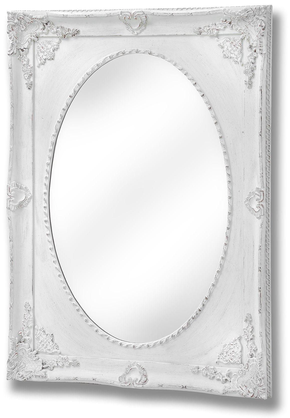 Hill Interiors Ornate Antique White Oval Mirror