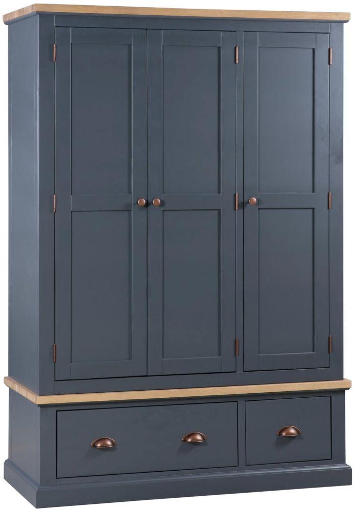 Hill Interiors Richmond Wardrobe - Slate Blue and Oak