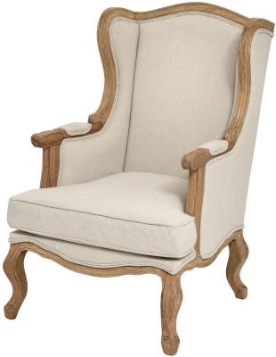 Hill Interiors Natural Linen Wing Chair