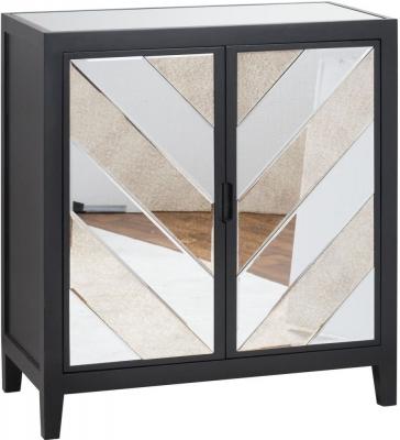 Hill Interiors Soho Black and Mirrored 2 Door Cabinet