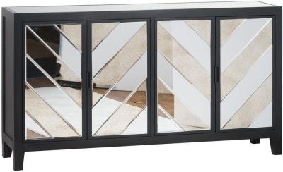 Hill Interiors Soho Black and Mirrored 4 Door Sideboard