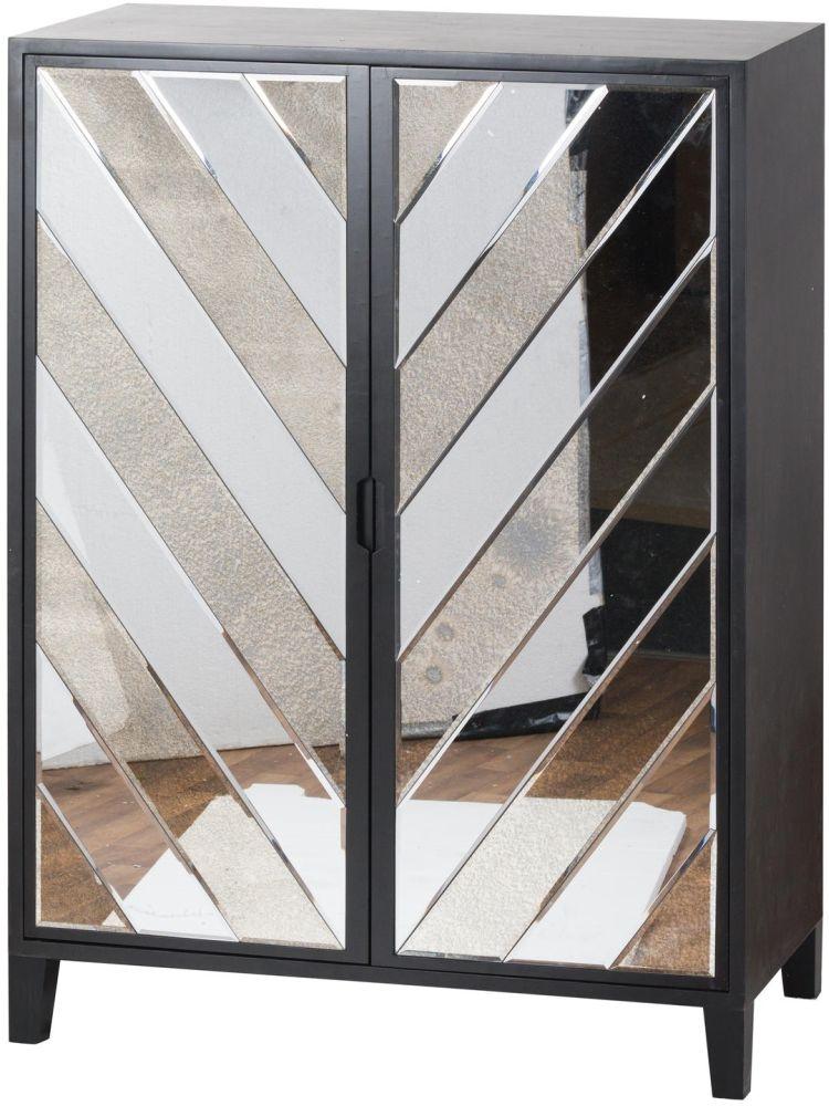 Hill Interiors Soho Black and Mirrored 2 Door Bar Cabinet