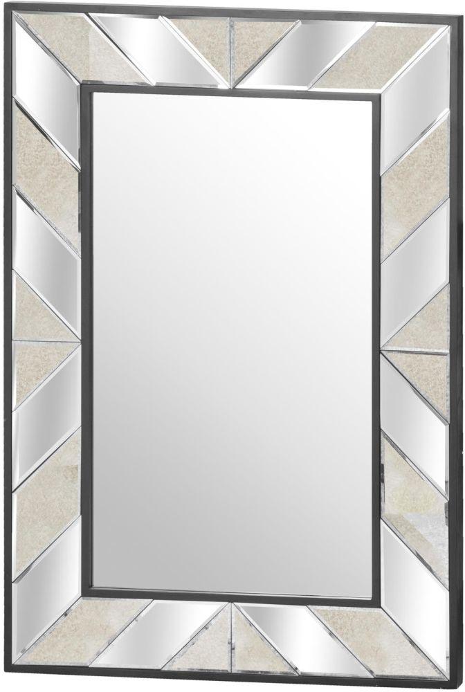 Hill Interiors Soho Black and Mirrored Rectangular Wall Mirror - 130cm x 90cm