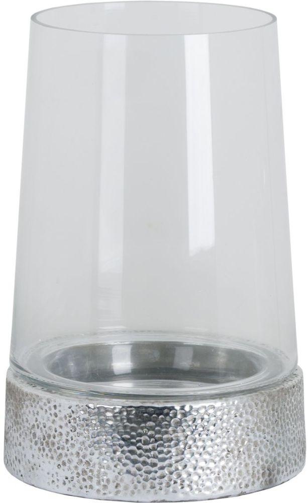 Hill Interiors Large Metallic Ceramic Cylindrical Hurricane Lantern