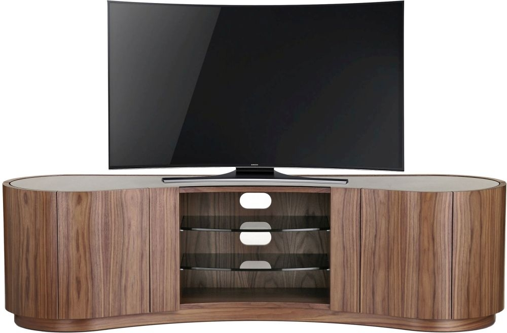 Tom Schneider Swirl Deluxe 1800 Walnut 4 Door TV Stand