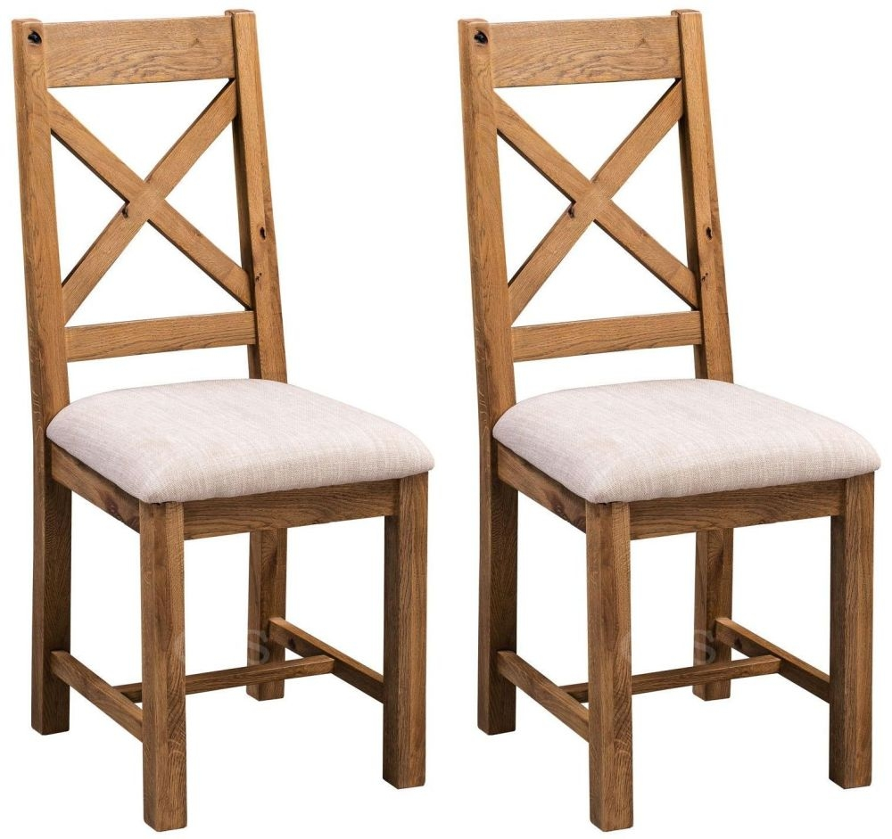 Homestyle GB Aztec Oak Cross Back Dining Chair (Pair)