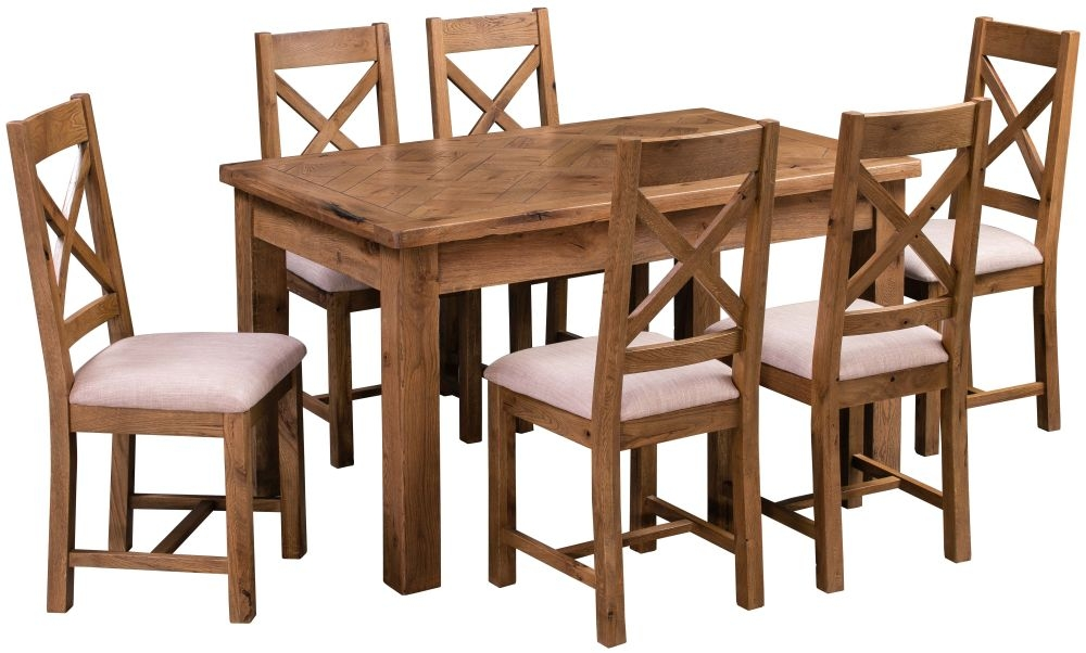 Homestyle GB Aztec Oak Rectangular Dining Set with 6 Cross Back Chairs - 140cm