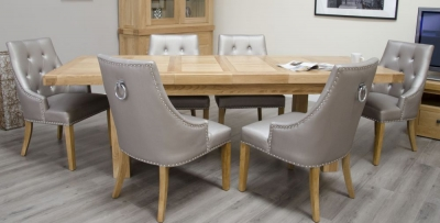 Homestyle GB Bordeaux Oak Rectangular Extending Dining Set with 6 Marjukka Stone Chairs - 180cm-260cm
