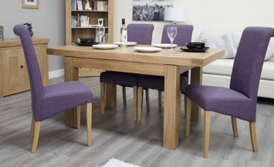 Homestyle GB Bordeaux Oak Extending Dining Table - 1 Leaf Small