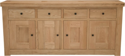 Homestyle GB Bordeaux Oak Sideboard - 4 Door 4 Drawer