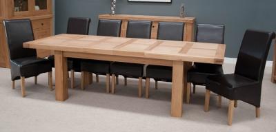 Homestyle GB Bordeaux Oak Twin Panel Dining Set - 220cm-320cm Grand Rectangular Extending with 8 Richmond Black Chairs