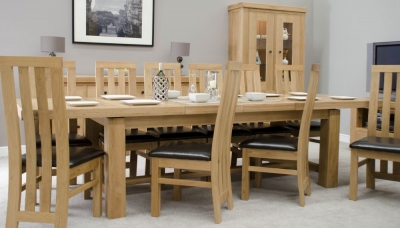 Homestyle GB Bordeaux Oak Twin Panel Grand Extending Dining Set and 10 Paris Bycast Chairs