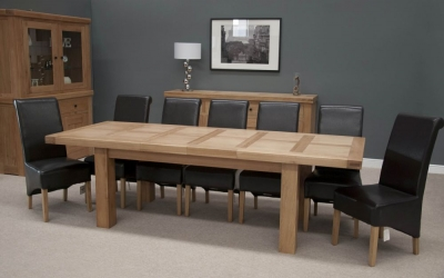 Homestyle GB Bordeaux Oak Twin Panel Large Extending Dining Set and 8 Richmond Black Chairs