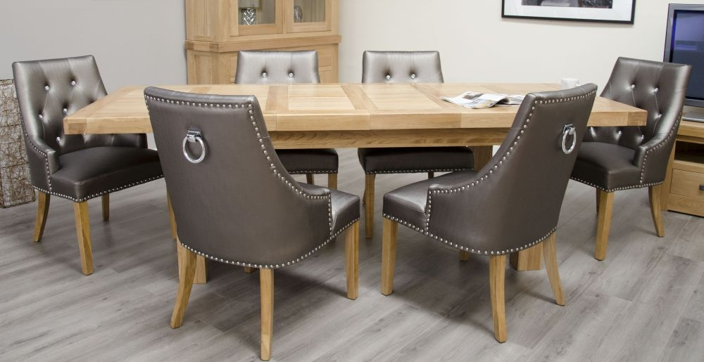 Homestyle GB Bordeaux Oak Rectangular Extending Dining Set with 6 Marjukka Tungsten Chairs - 180cm-260cm