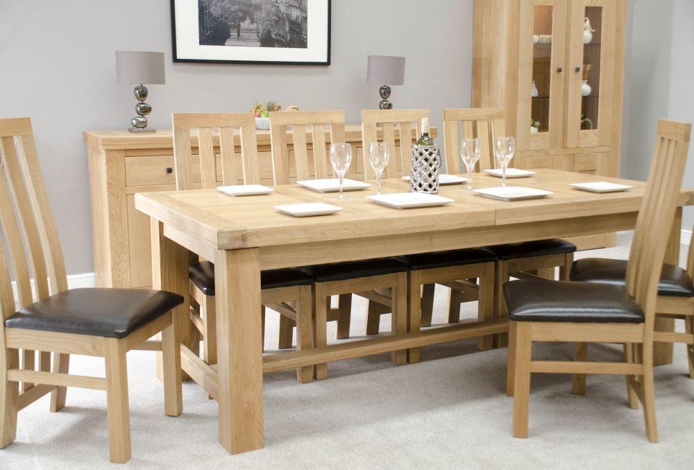 Homestyle GB Bordeaux Oak Rectangular Extending Dining Set with 8 Paris Bycast Chairs - 180cm-260cm