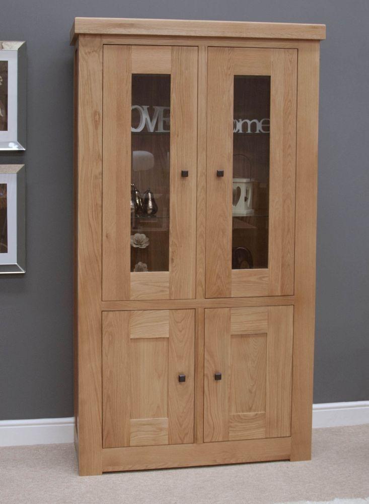 Homestyle GB Bordeaux Oak 4 Door Glazed Display Cabinet