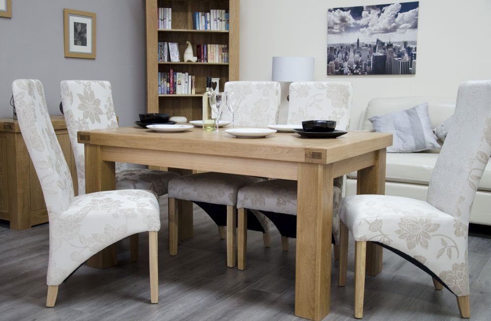 Homestyle GB Bordeaux Oak Dining Set and 6 Wave Floral Cream Chairs