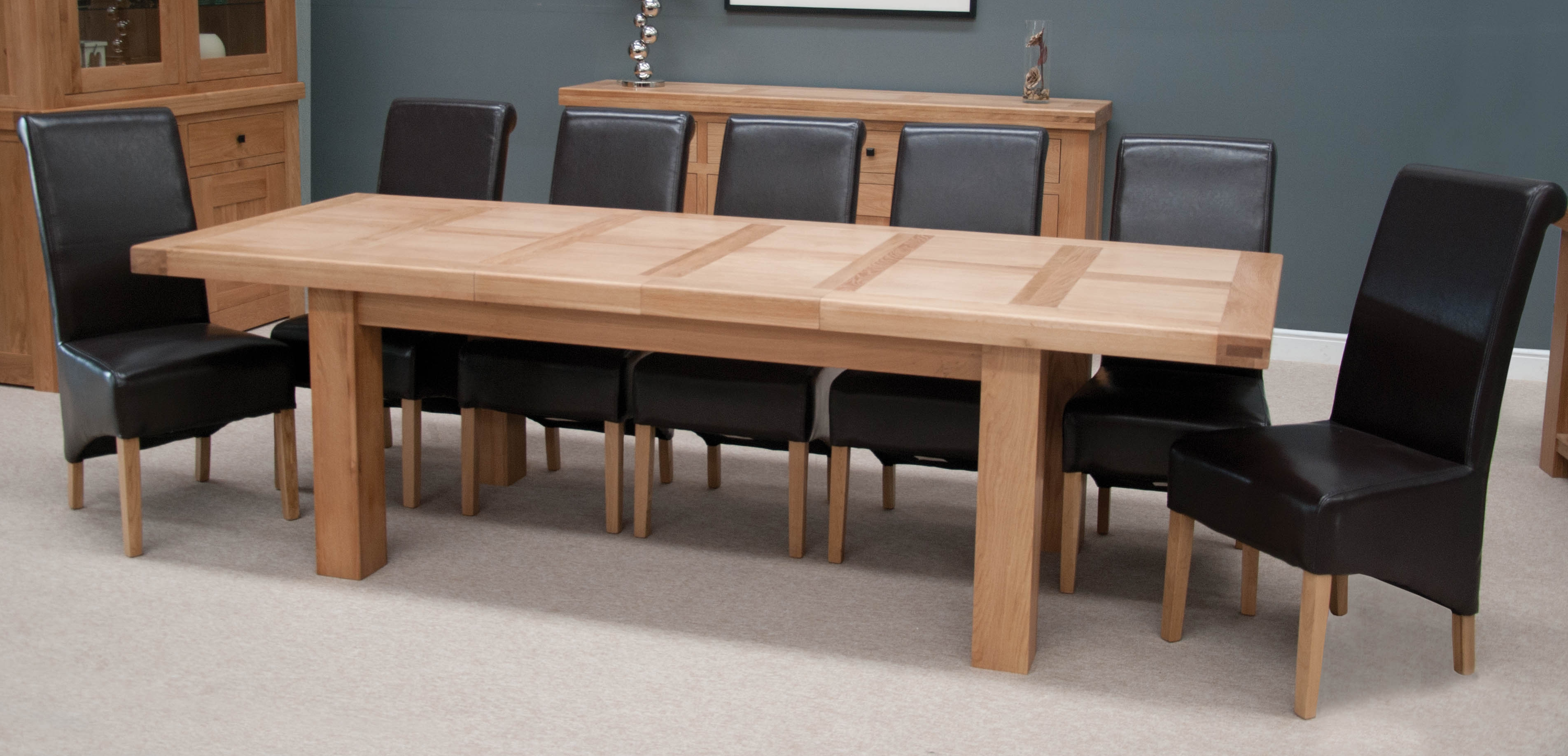Homestyle GB Bordeaux Oak Twin Panel Dining Set - 220cm-320cm Grand Rectangular Extending with 8 Richmond Black Chairs