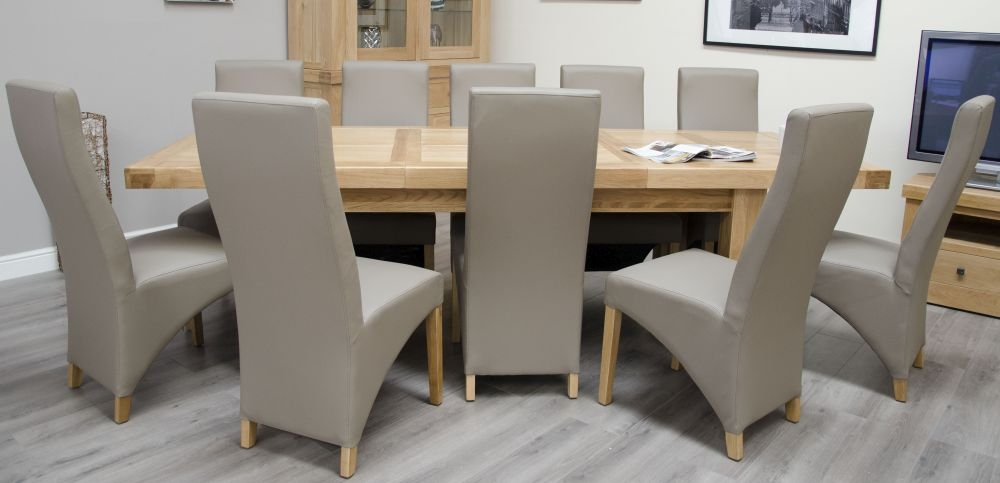 Homestyle Gb Bordeaux Oak Twin Panel Grand Extending Dining Set And 10 Wave Mushroom Chairs Cfs Furniture Uk