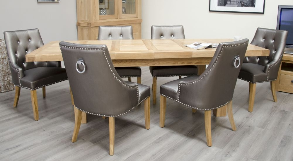 Homestyle GB Bordeaux Oak Twin Panel Large Rectangular Extending Dining Set with 6 Marjukka Tungsten Chairs - 180cm-260cm