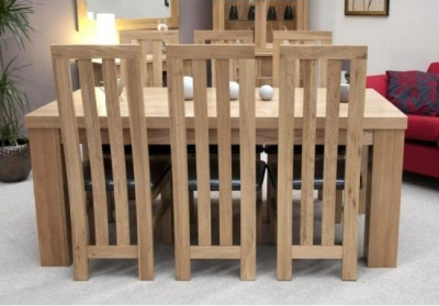 Homestyle GB Chunky Oak Dining Set - Large with 6 Paris Chairs