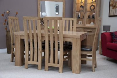 Homestyle GB Chunky Oak Dining Set - Medium with 6 Paris Chairs