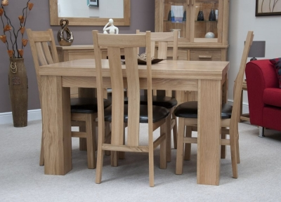 Homestyle GB Chunky Oak Dining Set - Small with 4 Maria Chairs