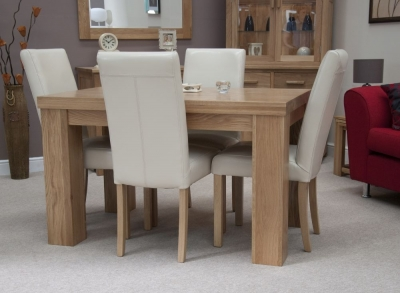 Homestyle GB Chunky Oak Dining Set - Small with 4 Marianna Cream Chairs