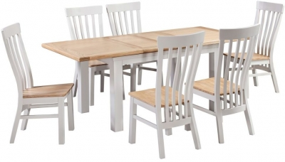Homestyle GB Cotswold Oak and Painted Extending Dining Set with 6 Solid Seat Chairs