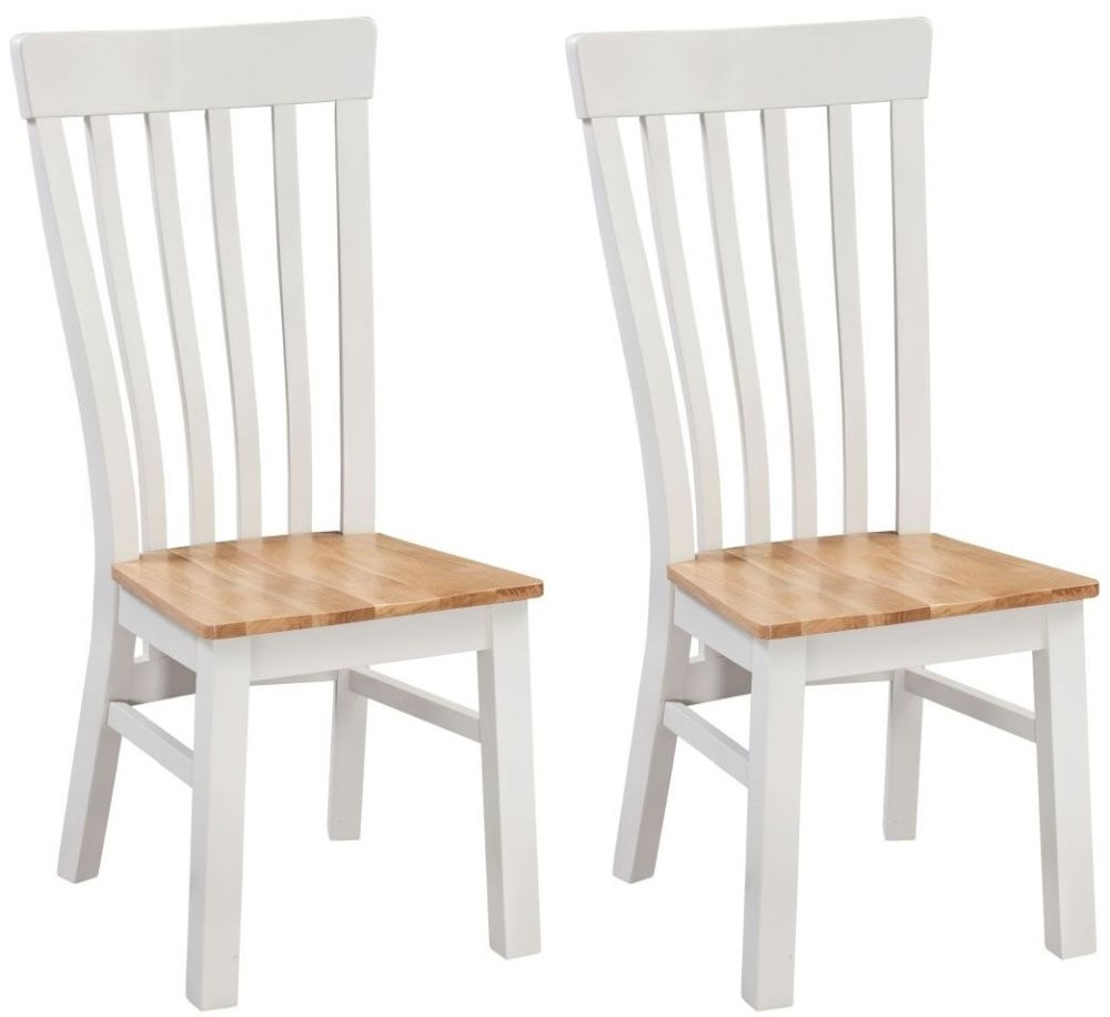 Homestyle GB Cotswold Oak and Painted Dining Chair with Solid Seat (Pair)