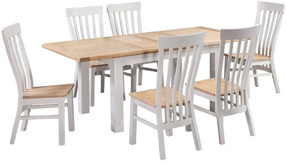 Homestyle GB Cotswold Painted Extending Dining Set with 6 Solid Seat Chairs