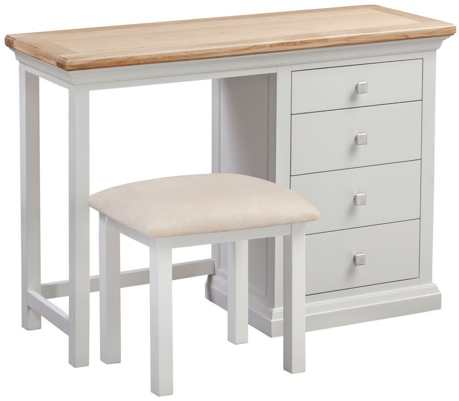 Homestyle GB Cotswold Oak and Painted Single Pedestal Dressing Table with Stool
