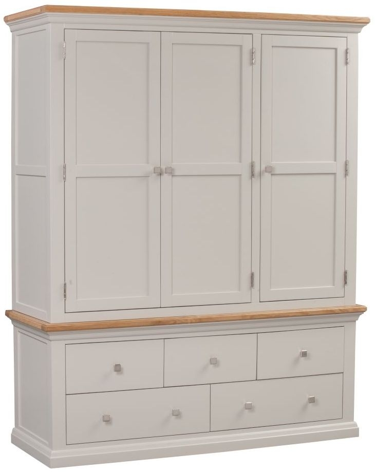 Homestyle GB Cotswold Painted 3 Door 5 Drawer Wardrobe